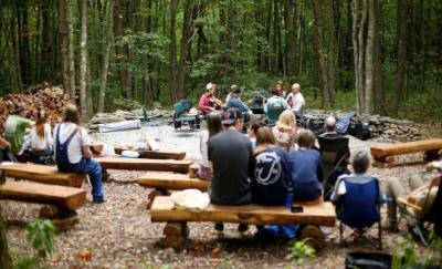 musicians at Elk Knob State Park's outdoor amphitheater